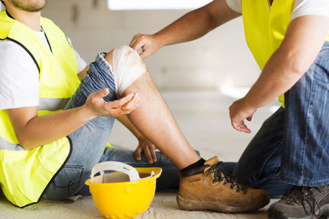 Construction worker with injury